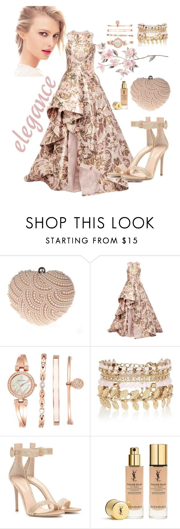 """Elegant Dress"" by grinevagh ❤ liked on Polyvore featuring Glam Cham, Monique Lhuillier, Chanel, Anne Klein, River Island, Gianvito Rossi and Yves Saint Laurent"