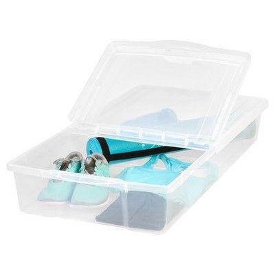 Iris 58 Qt Split-Lid Plastic Storage Bin - 5pk, Clear