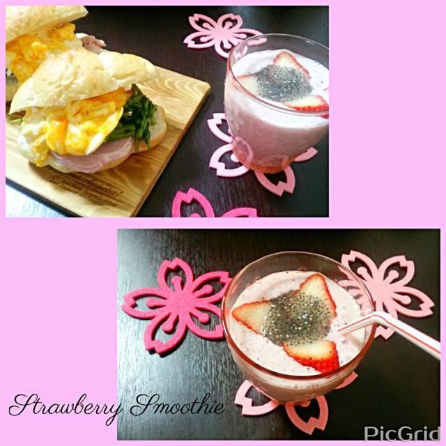 遅めの朝ごはんで、ストロベリースムージー♪  春は、ピンクとグリーンを食べると良いとヨーガの先生から教わりました。  着るもの、お部屋のインテリアも、春はピンクやグリーンが良いと言うことです。  で、今朝はイチゴに無調整豆乳にヨーグルト♪&メキシコ産のチアシードで元気印♪  きょうも、キューバ風サンドと一緒に頂きました。 - 161件のもぐもぐ - ストロベリースムージーでモーニング♪ by ゆっこ