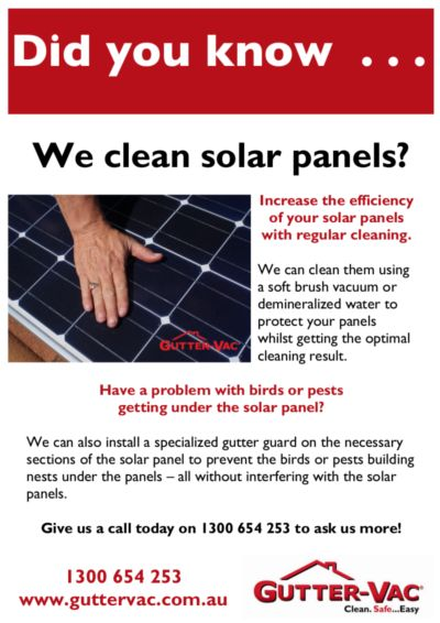 Did you know  that Gutter-Vac clean solar panels? Find out more at www.guttervac.com.au
