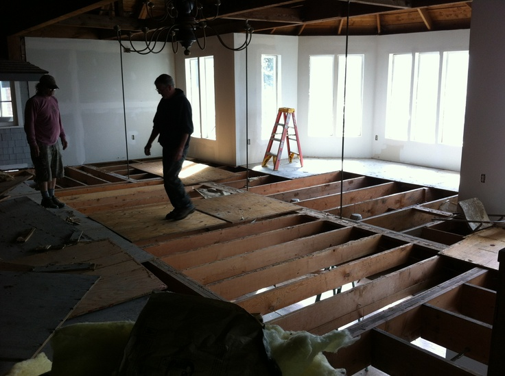 Exposed floor joists of the 1980s addition this section for Wood mezzanine construction plan