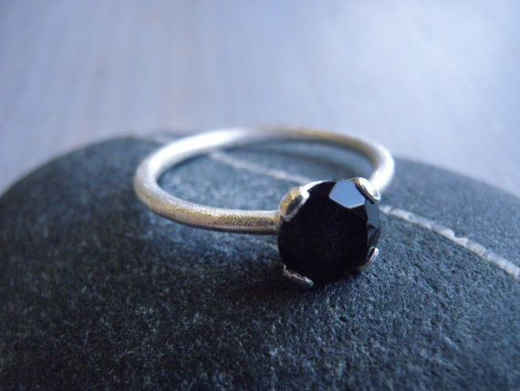 Genuine onyx Ring Engagement Ring Solitaire ring by Limorafaeli, $88.00