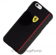 FERRARI CUSTODIA ORIGINALE HARD COVER BACK REAR CASE CON FIBRE DI CARBONIO APPLE IPHONE 6 / 6S NERA BLACK NUOVO NEW COMPRA SU - WWW.MAXYSHOPPOWER.COM