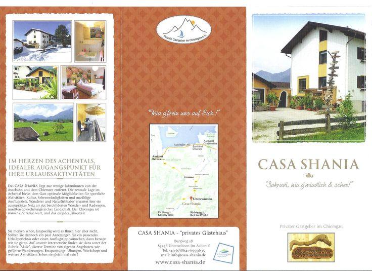 Flyer vom Gästehaus in #Unterwössen, Casa #Shania,#guesthouse,#private,#holiday,#bavaria,#chiemegau,#chiemsee,#unterkunft,#bayern, www.casa-shania.de