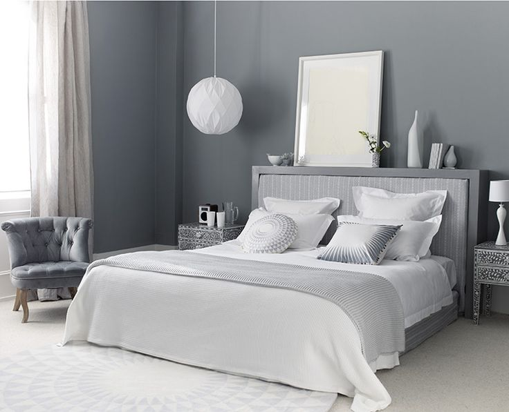 Greys are effortlessly chic and make for a timeless bedroom scheme. Interest can be added over time with shots of bright colour such as acid yellow or lipstick pink. Homes & Gardens. Photograh Polly Wreford; styling Melanie Molesworth