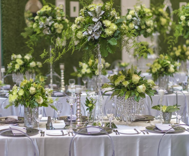 Floral centrepieces at varying heights