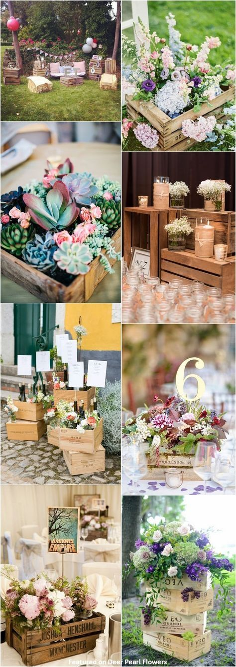 Rustic country wooden crate wedding decor ideas / www.deerpearlflow…  – wedding ideas