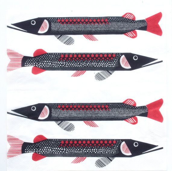 Paper napkin for decoupage, mixed media, collage, scrapbooking x 1. Marimekko Fish. No 1253 on Etsy, $0.90