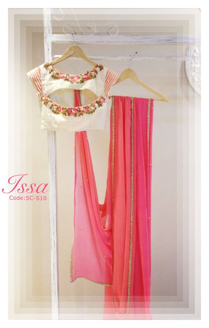 SC-S10 : It is as pretty as it looks.peachy pink chiffon saree and patterned blouse with thread and zardosi detailing. We can customize the colour size as per your requirement. To order please call/ WhatsApp on 9949944178 or mail us @issadesignerstudio@gmail.com