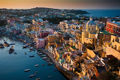 harbor of Corricella on Procida in Italy