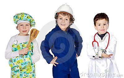 Future generation of workers a over white background