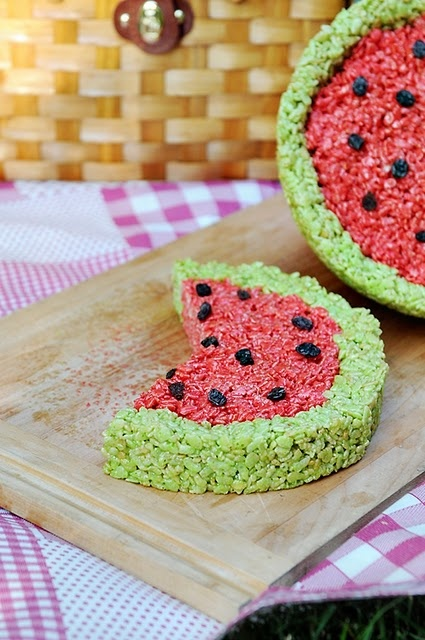 picnic party: Watermelon Rice Krispie Treats