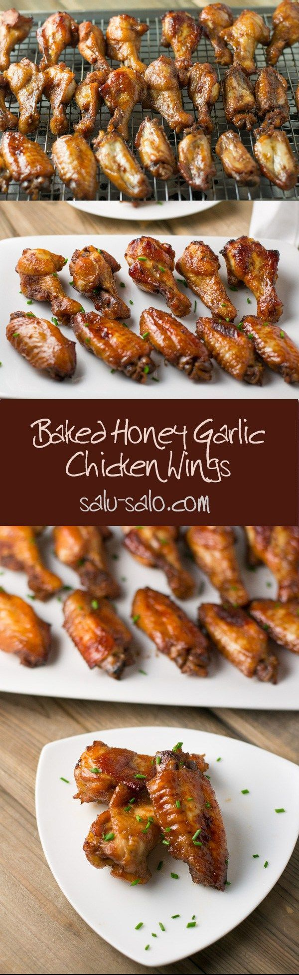 Baked Honey Garlic Chicken Wings - a healthy alternative to fried honey garlic chicken wings. Honey, soy sauce, and ketchup are used as marinade. : salusalo