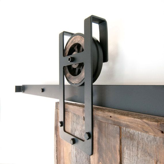 This is a BEAUTIFUL rustic industrial steel Square Horseshoe sliding barn door hardware set. Made in the USA by hand from high quality rugged