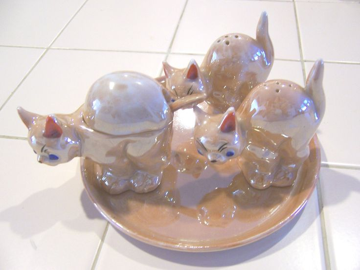 Lusterware animal condiment sets