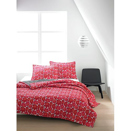 Florals and stripes naturally compliment eachother, so it's only fit for this stunning set to feature this dynamic duo. Marimekko Mini-Unikko Red / Ajo Black Quilted Bedding - $29.99 - $240