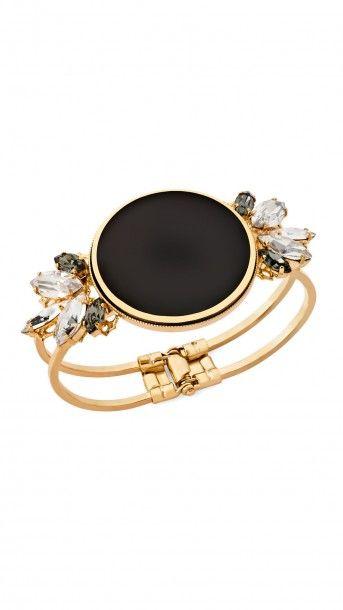 ANTON HEUNIS Pulsera dorada con pieza central circular lacada en negro y cristales facetados engarzados en los laterales - Jewellery - Dresseos