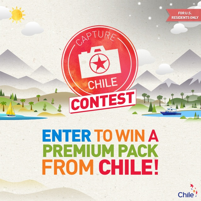 Contest for U.S residents - Capture Chile #pinChile      Start date: June, 13, 2013    Register here:  http://www.facebook.com/chiletravelguide/app_115586365316916