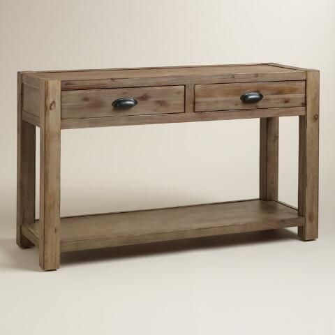 tables our rustic console table features a chunky wood frame and metal pulls with two drawers and a lower shelf for storage itu0027s ideal for