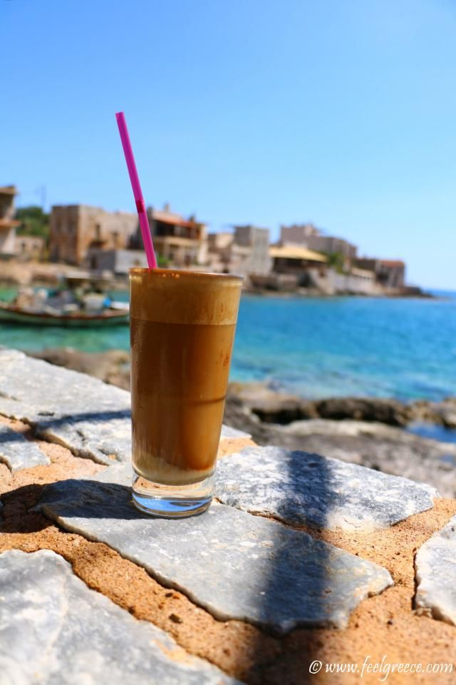 Afternoon frappe in the heat; photo from Gerolimenas, Mani Region