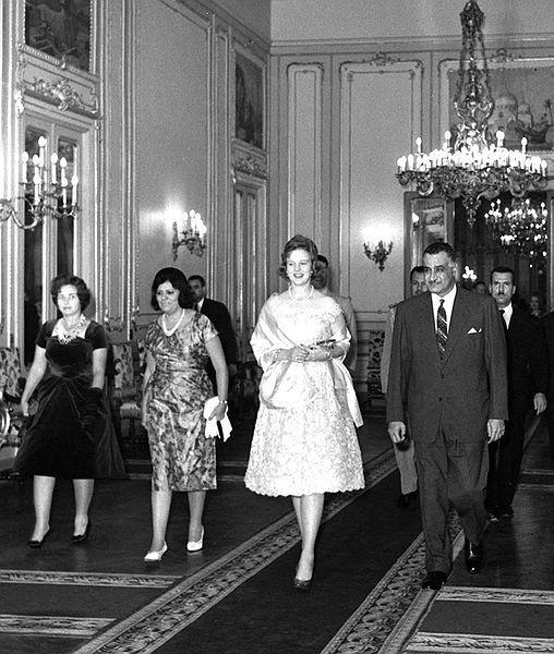 Egyptian president Gamal Abdel Nasser & wife Tahia Kazem with Denmark crowne princess Margreth