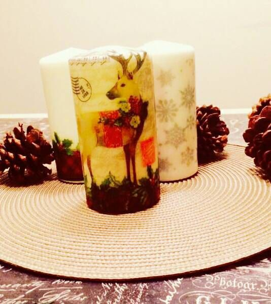 Check out this item in my Etsy shop https://www.etsy.com/listing/496255543/christmas-decoupage-candles-rudolph