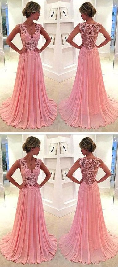 Lace V-neck see-through long chiffon prom dress Blush Pink Vintage Lace Classic Prom Dresses 2016 - Thumbnail 4