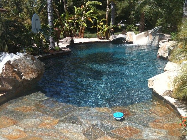 Pool Deck With Waterfeature  Tropical Pool  Landscaping Network  Calimesa, CA