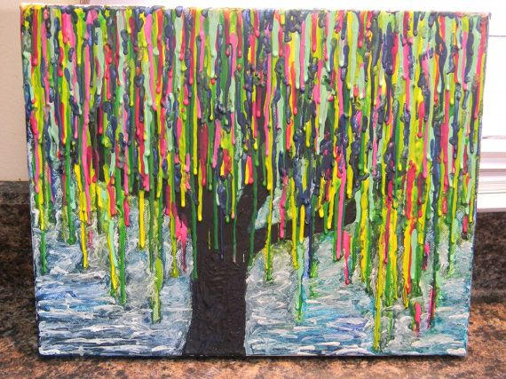 Melted crayon art weeping willow tree by JessiesART77 on Etsy, $35.00
