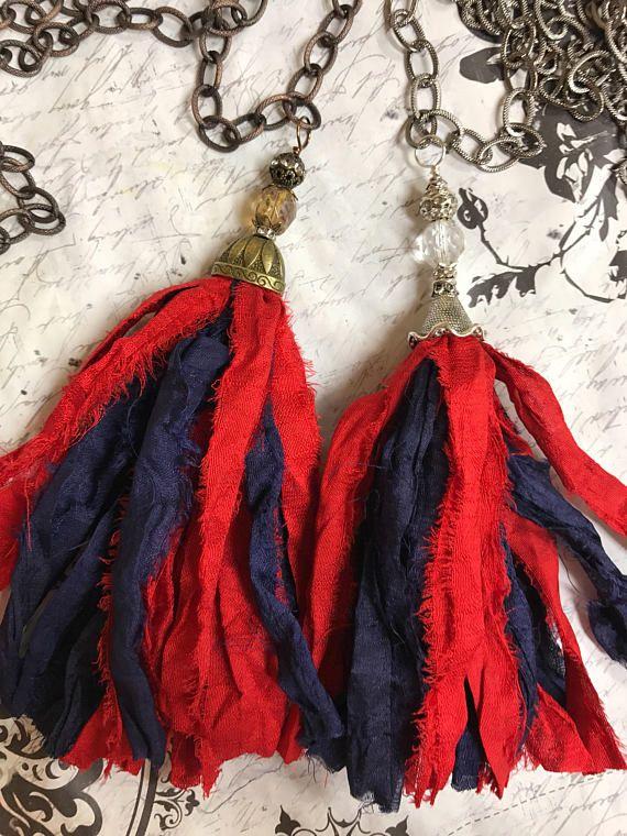 Ole seda de sari Miss joyas Sari de seda borla rojo y azul