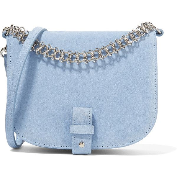 Little Liffner Saddle Up small suede shoulder bag found on Polyvore featuring bags, handbags, shoulder bags, sky blue, floral handbags, blue handbags, chain strap shoulder bag, floral purse and blue purse