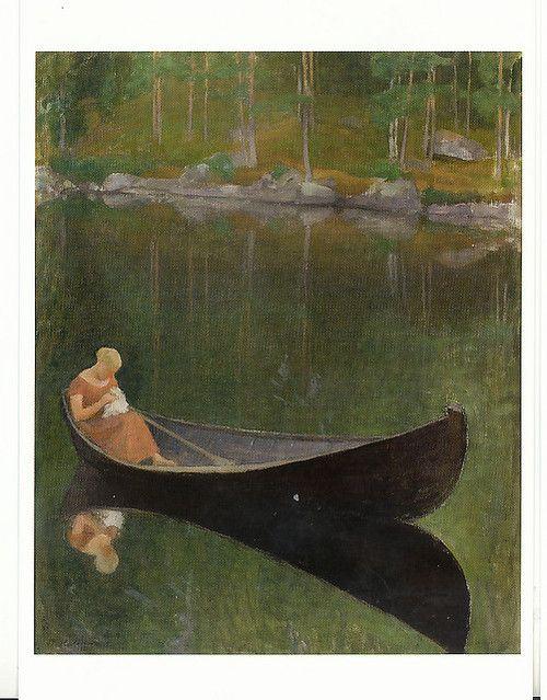 Pekka Halonen,1924: Woman in a boat.(Merja's dreams on Flickr.)