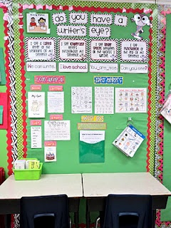 "writing station for students to do their ""sloppy copy"" (pre-writing).  this teacher also has a bin of scrabble letters so students can ""write"" with the letters first.  great way to keep students engaged!  even ESL students!"