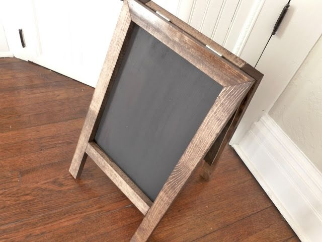 DIY Chalkboard easel. Use some boards from a pallet and this could be a cheap yet beautiful wedding decoration