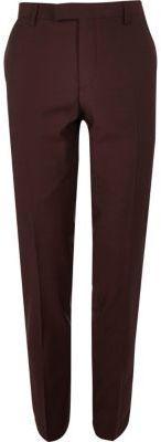 River Island Mens Berry skinny fit suit pants