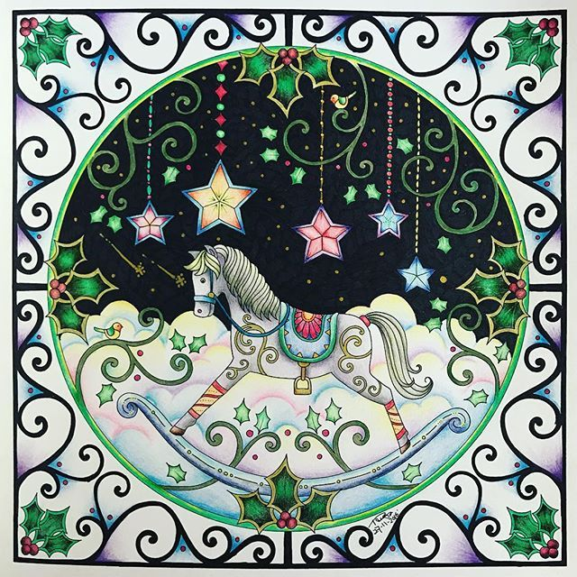 Rocking Horse in Green and White. Very soft. #Finished #Johannabasford #RockingHorse #JohannasChristmas #ColourPencil #Colouring