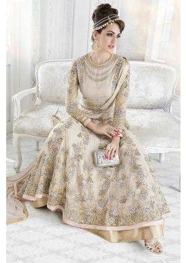 costume Anarkali net de couleur beige