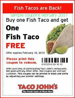 free Taco Johns coupons for february 2017