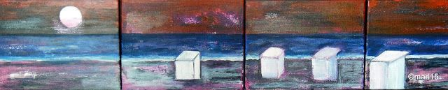 Kom binnen in de Kunstgalerie van Marl.Decoratieve schilderijen: 15-191- 15-194 The evening sun