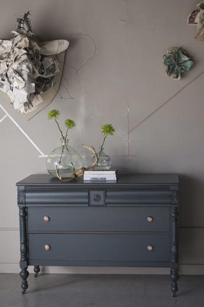 another lovely color by knack. gray, navy dresser.  refurbished dresser