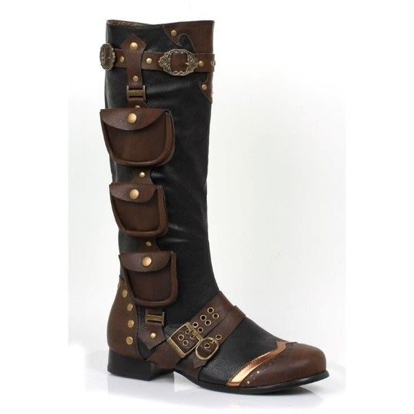 Mens Unique Steampunk Gypsy Boho Boots with Pockets ❤ liked on Polyvore featuring men's fashion, men's shoes and men's boots