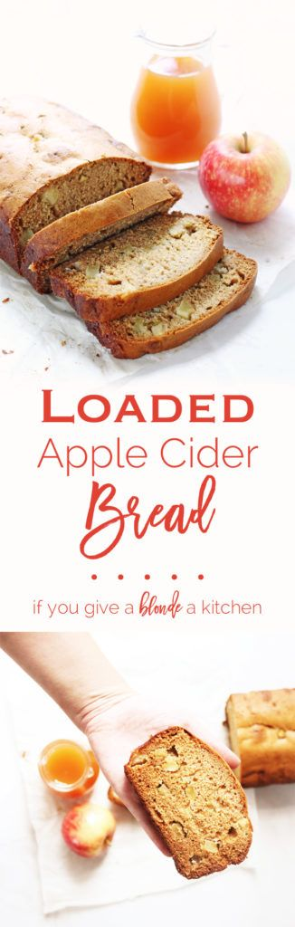 This LOADED apple cider bread is packed with apples chunks, hard apple cider and plenty of fall flavor.   www.ifyougiveablondeakitchen.com