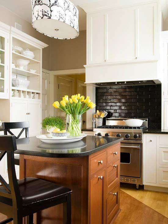 We love this high gloss brick backsplash! More backsplash ideas: http://www.bhg.com/kitchen/backsplash/kitchen-backsplash-ideas/