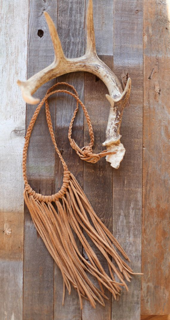 Brown suede fringe necklace by beigeandbarn on Etsy