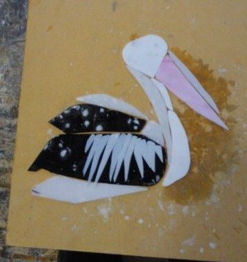 Work in progress - fused glass pelican | Monday morning class Dianne