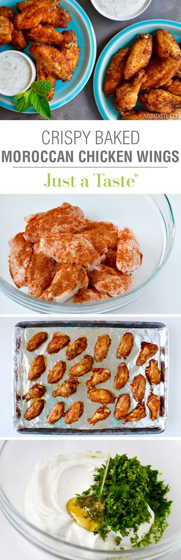 Crispy Baked Moroccan Chicken Wings with Yogurt Dip | recipe via justataste.com