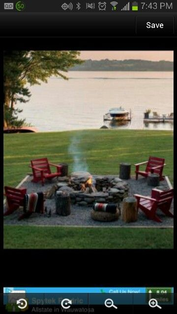 Easy Fire pit & surround for the lakehouse ~ love this. Would connect it somehow though to the patio space around / near the beach-shed.