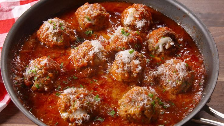 Cheese-Stuffed Meatballs . Good with your pasta & sauce dish or as an appetizer. - Delish.com