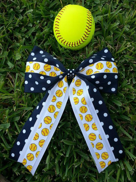 Softball bow by fastpitchfanatics on Etsy, $10.00
