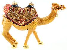 XXL Kamel in Braun Skulptur Schmuck Schatulle Pillen Dose Figur Strass Deko Box